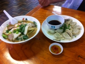 Spencer Village Prawn Noodle Soup and Dumplings.