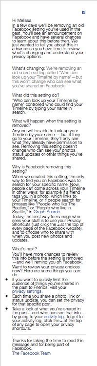 The Facebook email
